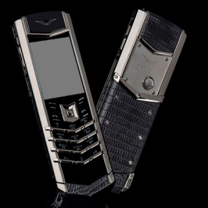 Vertu Signature S Design Stainless Steel Grey Iguana Leather