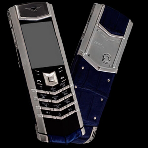 Vertu Signature S Design Stainless Steel Navy Crocodile Leather