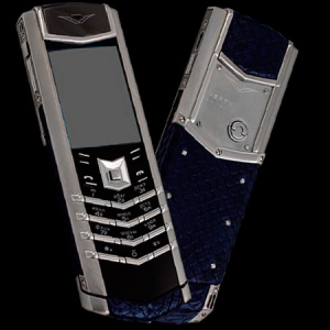 Vertu Signature S Design Stainless Steel Navy Python Leather