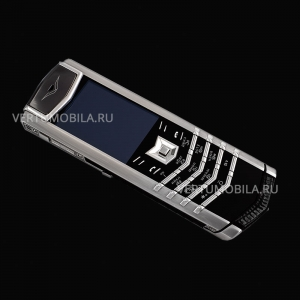 Vertu Signature S Design Stainless Steel Black Iguana Leather