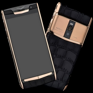 Vertu Signature Touch Gold Crocodile Black NEW