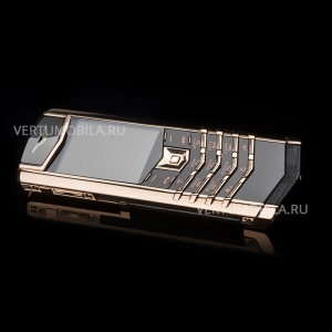 Vertu Signature S Design Gold Black Crocodile Leather