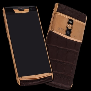 Vertu Signature Touch Gold Crocodile Brown NEW