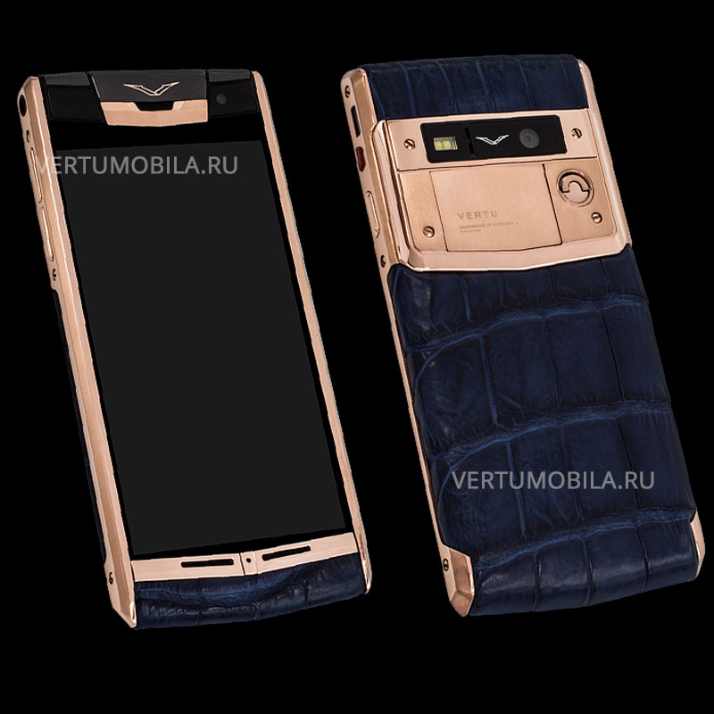 Vertu Signature Touch Gold Crocodile Navy
