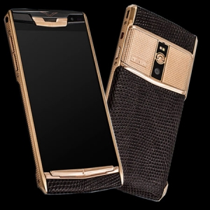 Vertu Signature Touch Clous De Paris Gold Brown Iguana new