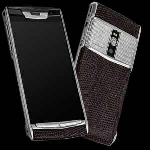 Vertu Signature Touch Clous De Paris Steel Iguana Brown new