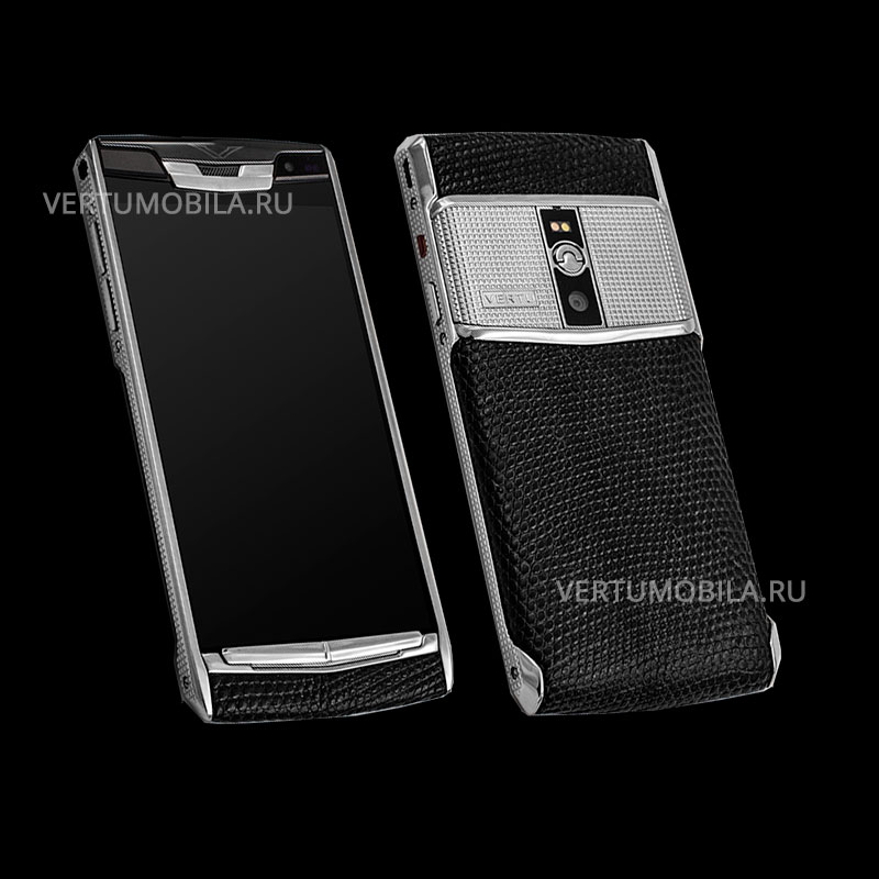 Vertu Signature Touch Clous De Paris Steel Iguana Black new
