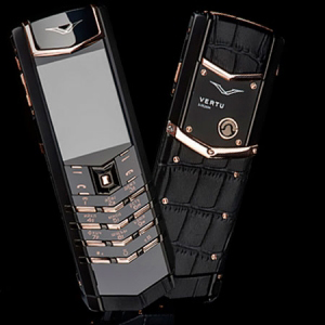 Vertu Signature S Design Pure Black Gold Crocodile Leather